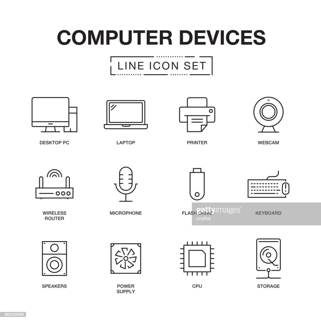 COMPUTER DEVICES LINE ICONS SET