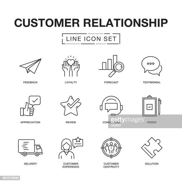 illustrations, cliparts, dessins animés et icônes de customer relation ligne icons set - ordre