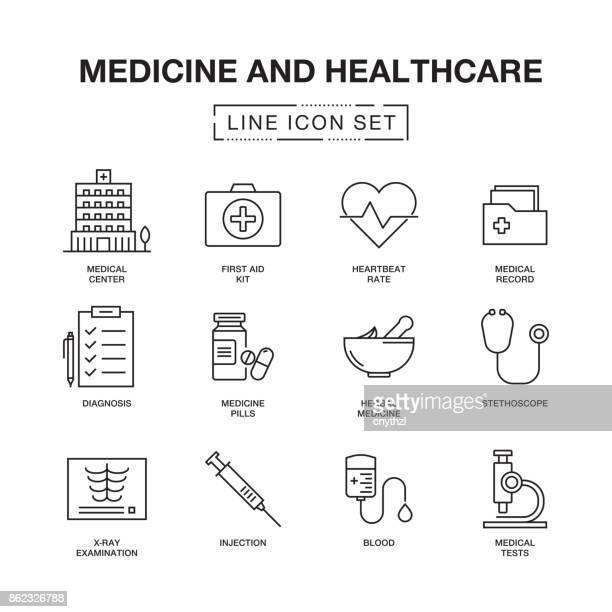 医学と医療の線のアイコン セット