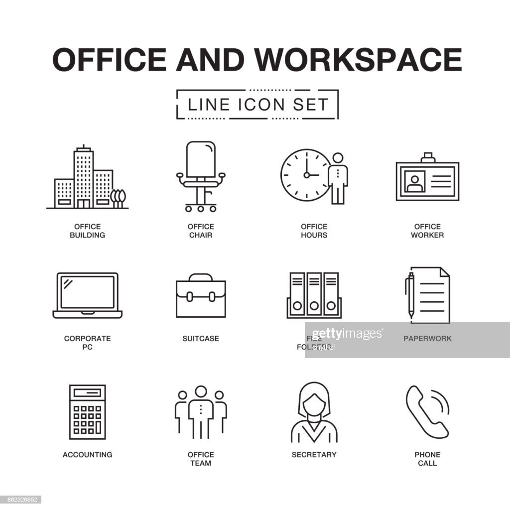 OFFICE AND WORKSPACE LINE ICONS SET