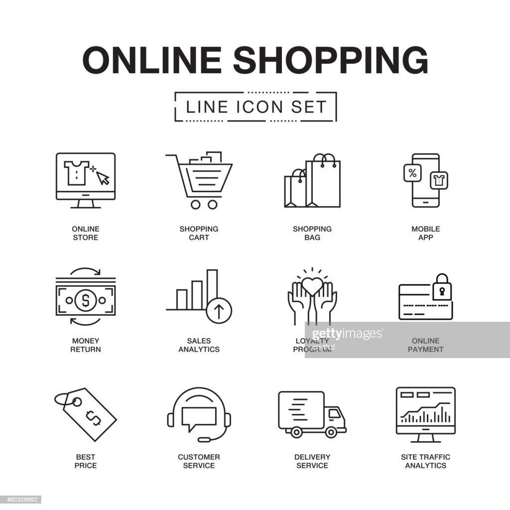 ONLINE SHOPPING LINE ICONS SET : stock illustration