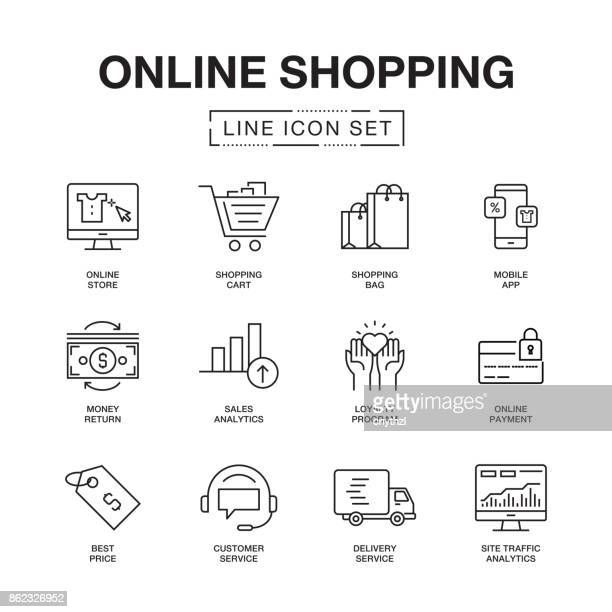 online-shopping line icons set - kaufen stock-grafiken, -clipart, -cartoons und -symbole