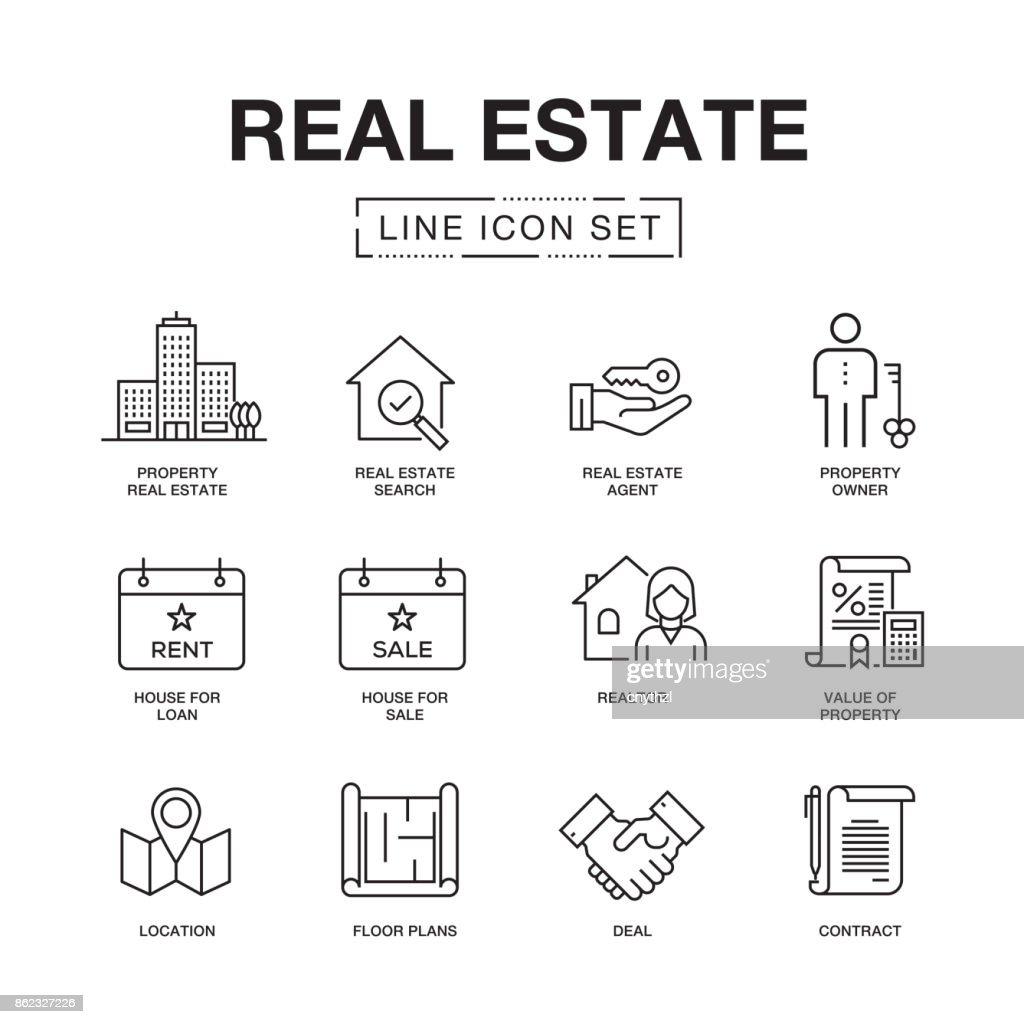 REAL ESTATE LINE ICONS SET : Stock Illustration