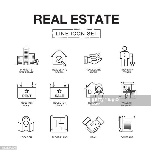 IMMOBILIEN LINIE ICONS SET