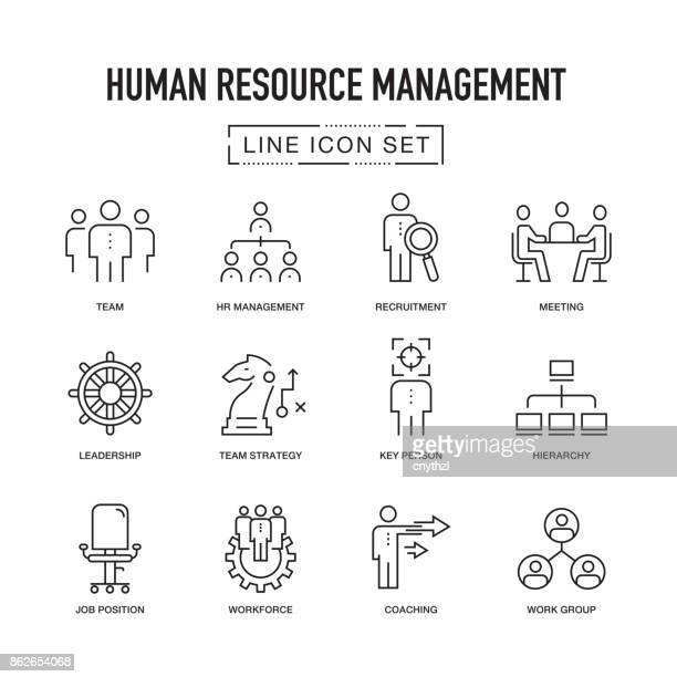 human resource management line icons set - employee stock illustrations