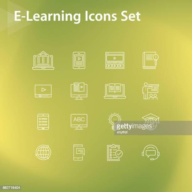 E-LEARNING LINE ICONS SET
