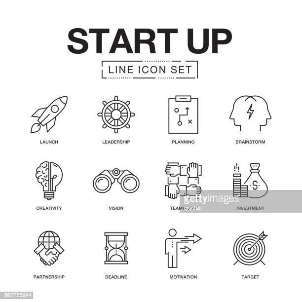 start up line icons set - strategy stock illustrations, clip art, cartoons, & icons