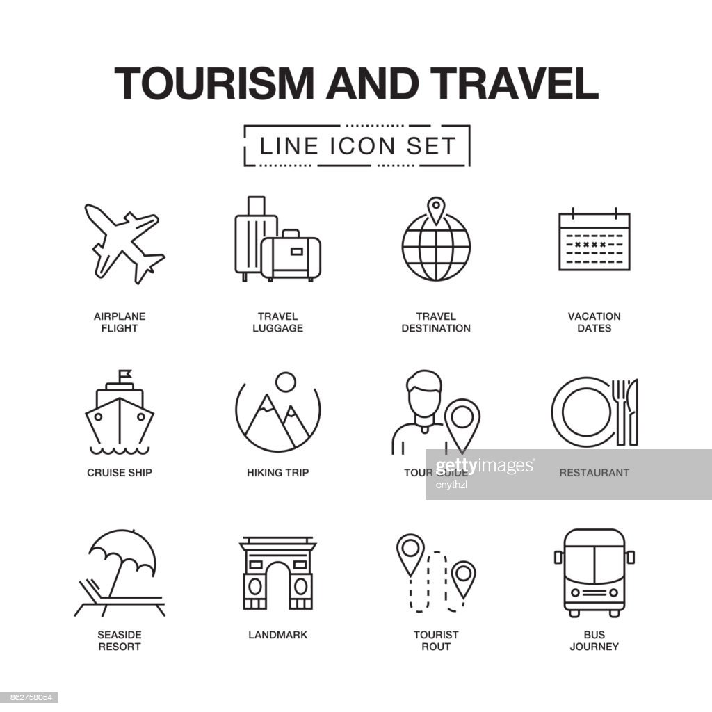 TOURISM AND TRAVEL LINE ICONS SET : stock illustration