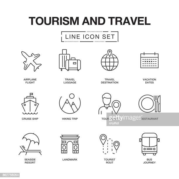 tourism and travel line icons set - group of objects stock illustrations
