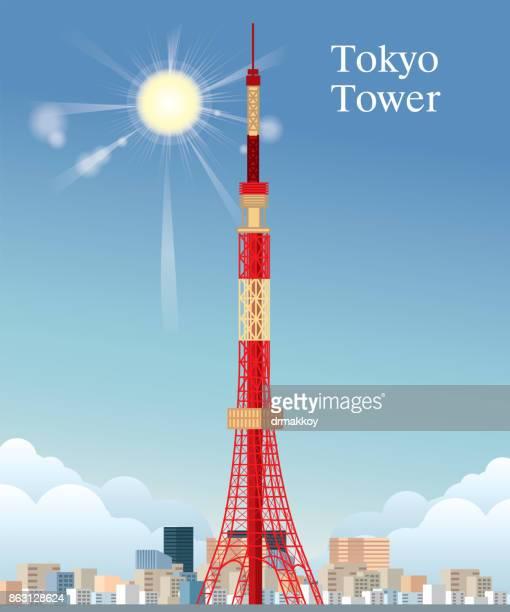 bildbanksillustrationer, clip art samt tecknat material och ikoner med tokyo tower - tokyo japan