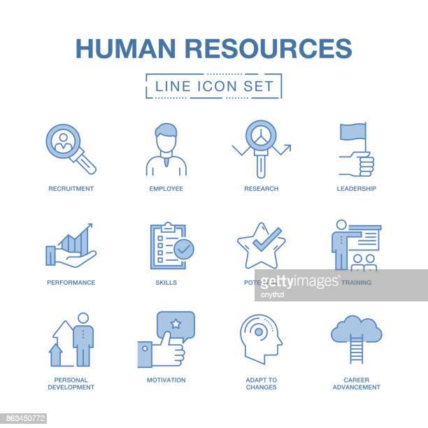 human resources line icons set - job interview stock illustrations, clip art, cartoons, & icons