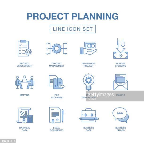 projektplanung linie icons set - technische zeichnung stock-grafiken, -clipart, -cartoons und -symbole
