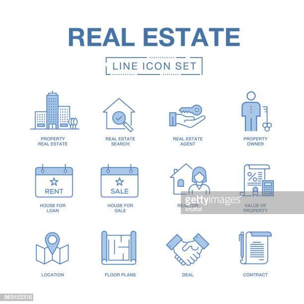 REAL ESTATE LINE ICONS SET