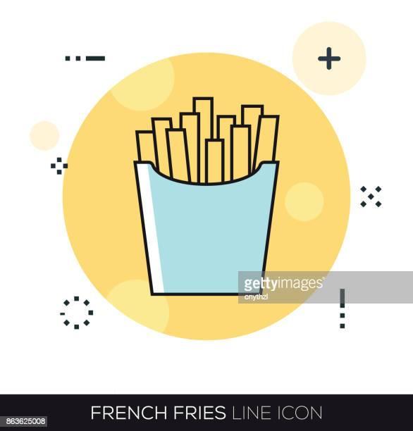 ilustraciones, imágenes clip art, dibujos animados e iconos de stock de icono de línea de papas fritas - patatas preparadas