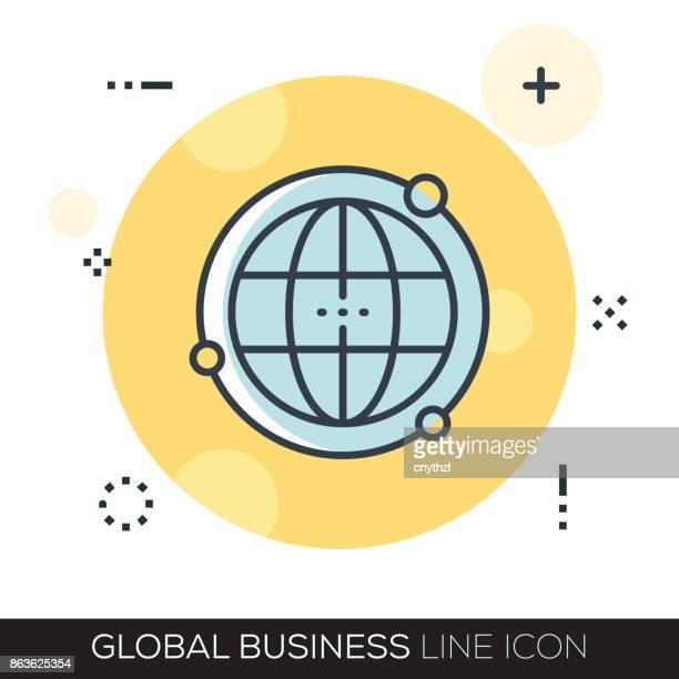 bildbanksillustrationer, clip art samt tecknat material och ikoner med global business linje-ikonen - internationell match