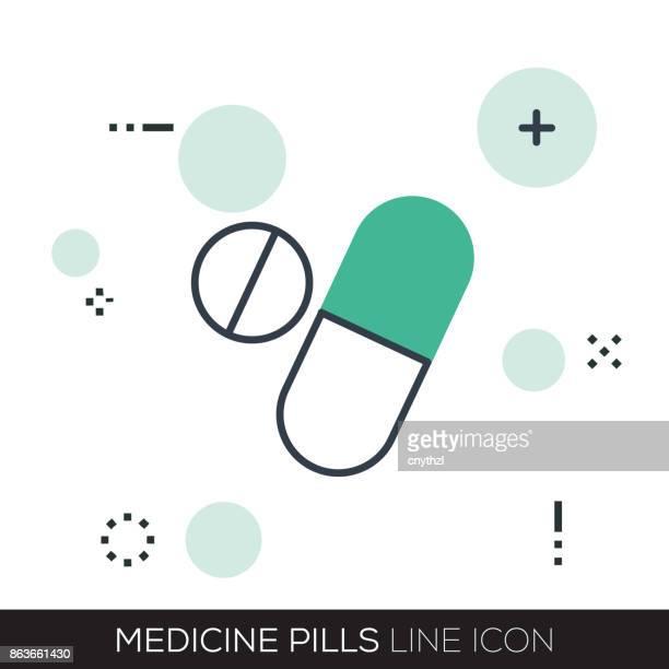 MEDICINE PILLS LINE ICON