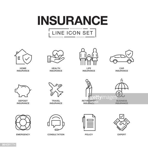 sparte icons set - versicherung stock-grafiken, -clipart, -cartoons und -symbole