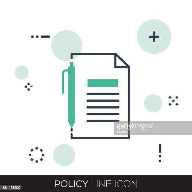 policy line icon - bang boat stock illustrations