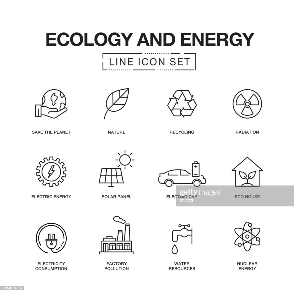 ÖKOLOGIE UND ENERGIE-LINIE SYMBOLE : Stock-Illustration