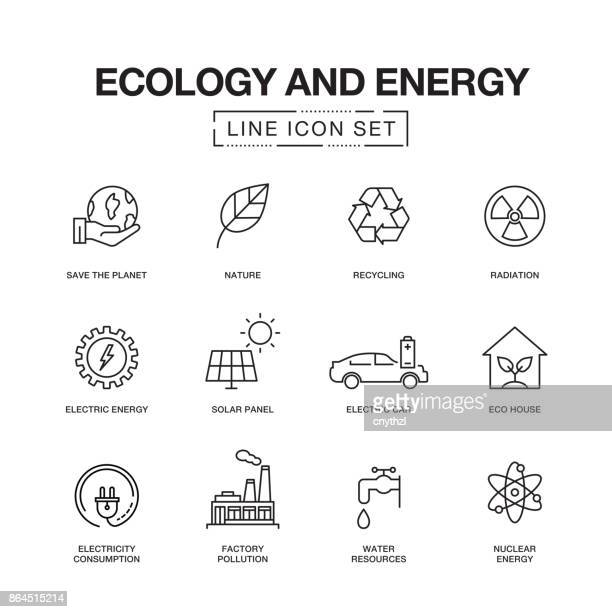 ecology and energy line icons - nuclear energy stock illustrations