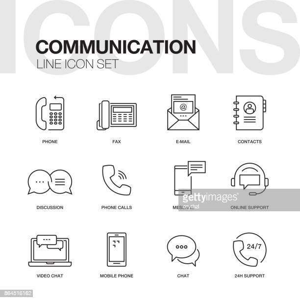 communication line icons - group of objects stock illustrations