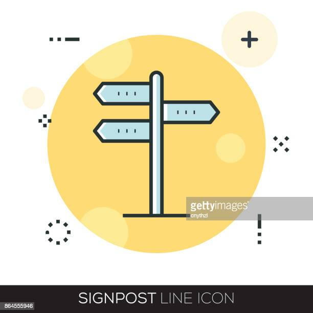 signpost line icon - sign language stock illustrations, clip art, cartoons, & icons