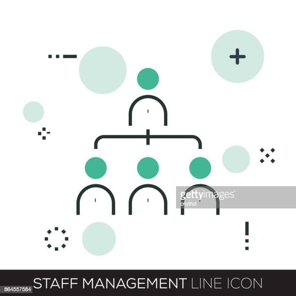 staff management line icon - press conference stock illustrations, clip art, cartoons, & icons