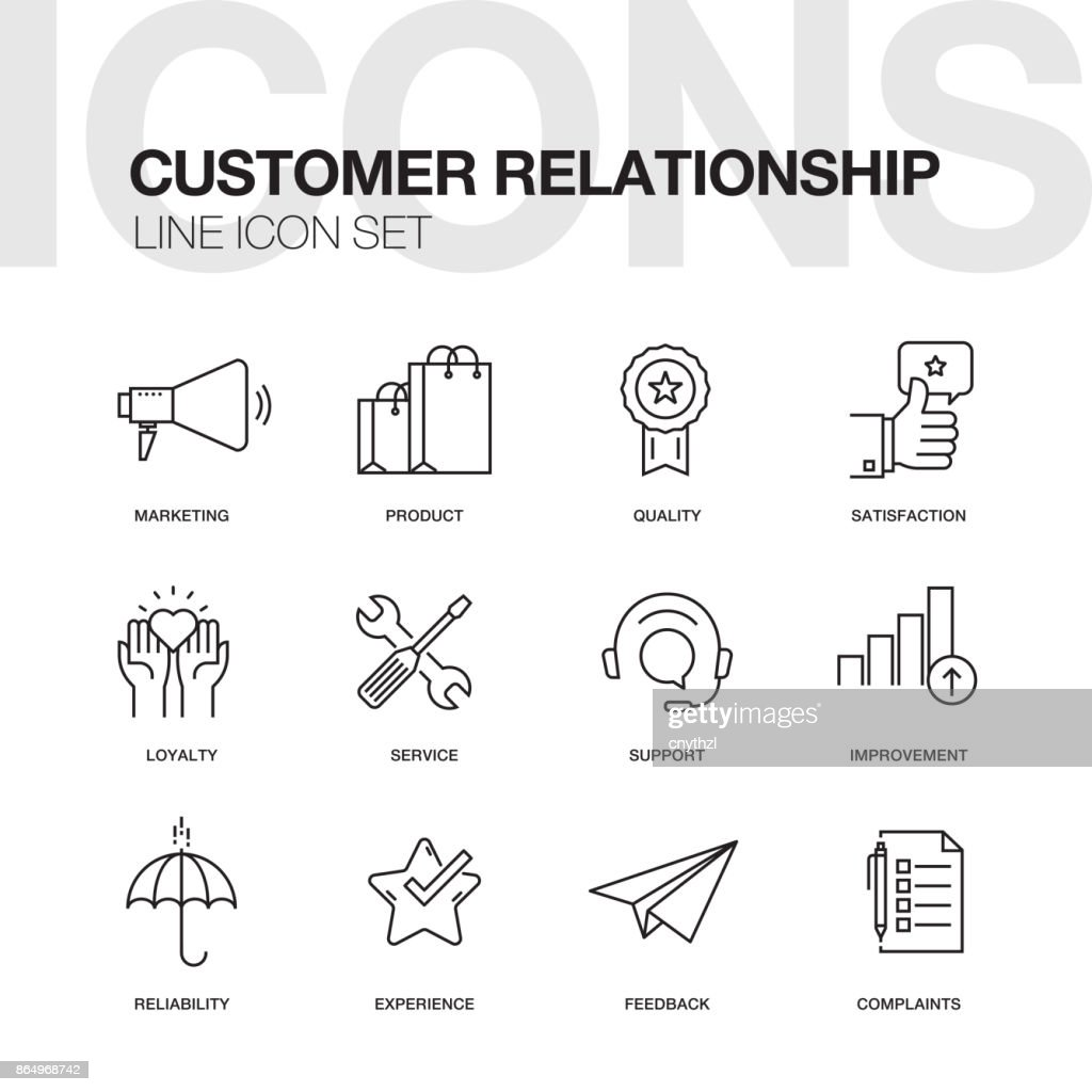 CUSTOMER RELATIONSHIP LINE ICONS