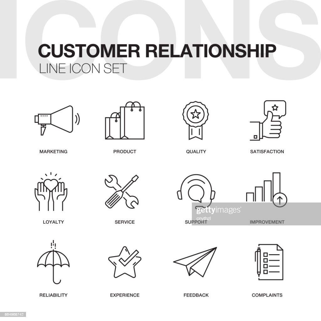 CUSTOMER RELATIONSHIP LINE ICONS