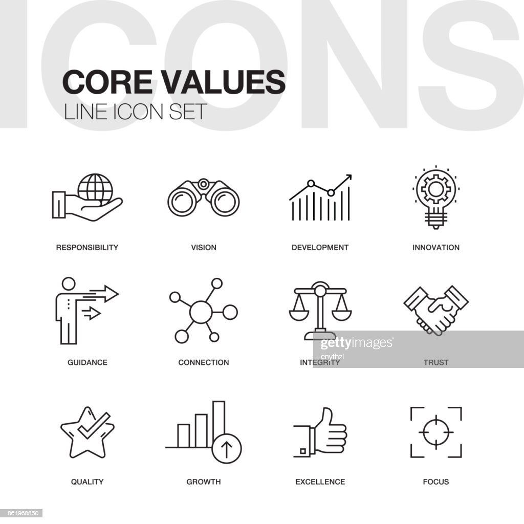 CORE VALUES LINE ICONS : stock illustration