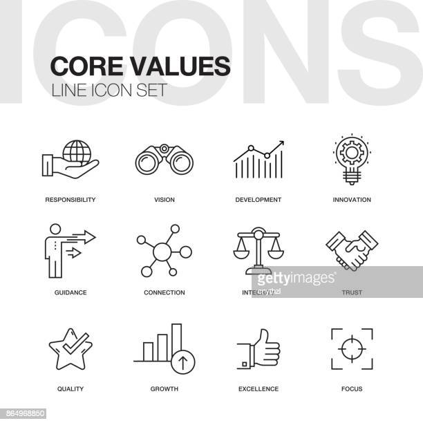 core values line icons - growth stock illustrations