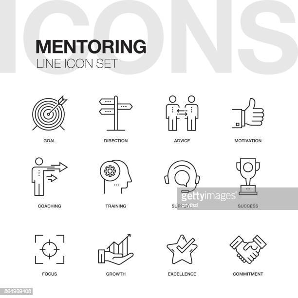 mentoring line icons - chance stock illustrations
