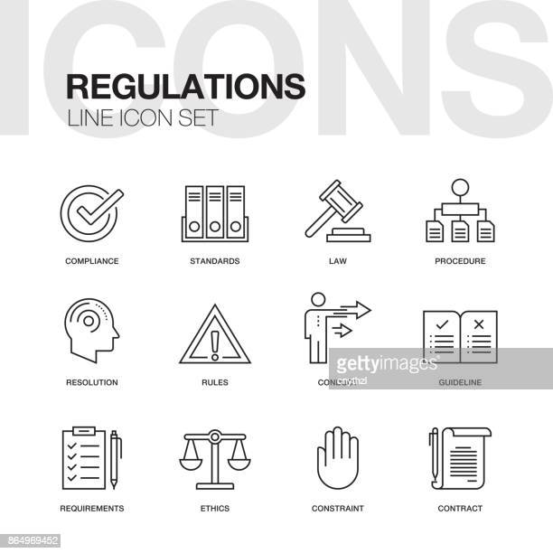 regulations line icons - office safety stock illustrations, clip art, cartoons, & icons