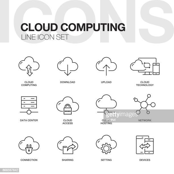 cloud computing line icons - downloading stock illustrations