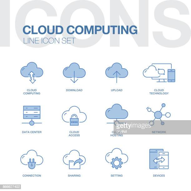 CLOUD COMPUTING LINE ICONS