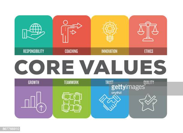 core values colorful line icons - passion stock illustrations