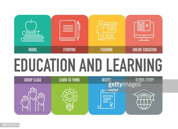 EDUCATION AND LEARNING COLORFUL LINE ICONS
