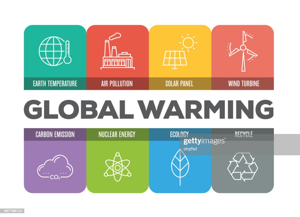 GLOBAL WARMING COLORFUL LINE ICONS : stock illustration