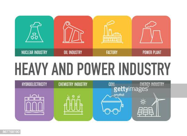 heavy and power industry colorful line icons - fuel station stock illustrations, clip art, cartoons, & icons
