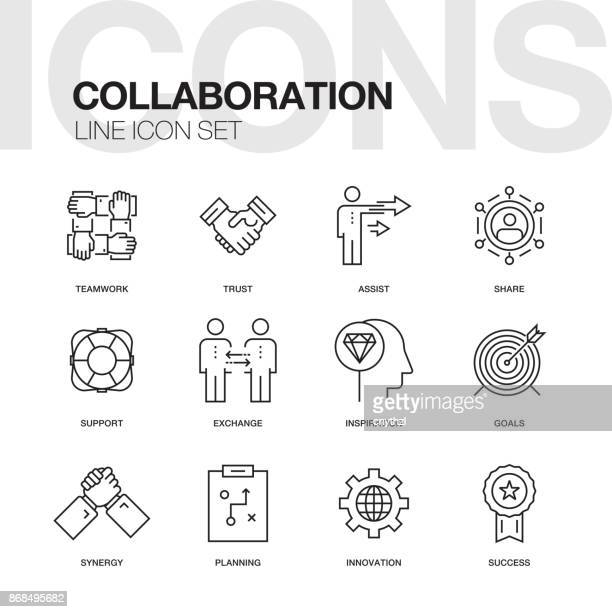 LIGNE DE COLLABORATION ICON SET