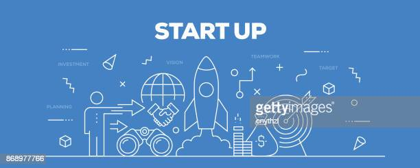 start up web banner line style - new business stock illustrations