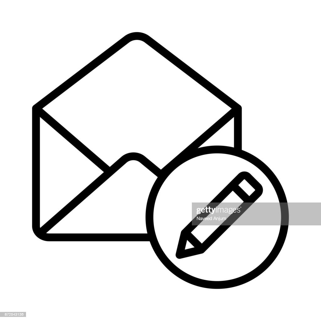 MAIL EDIT THIN LINE VECTOR ICON