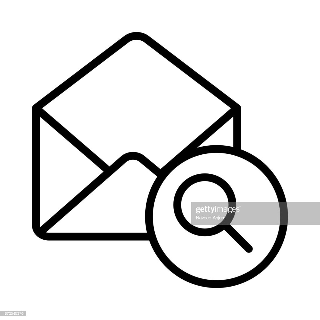 MAIL SEARCH THIN LINE VECTOR ICON
