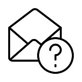 MAIL QUESTION THIN LINE VECTOR ICON