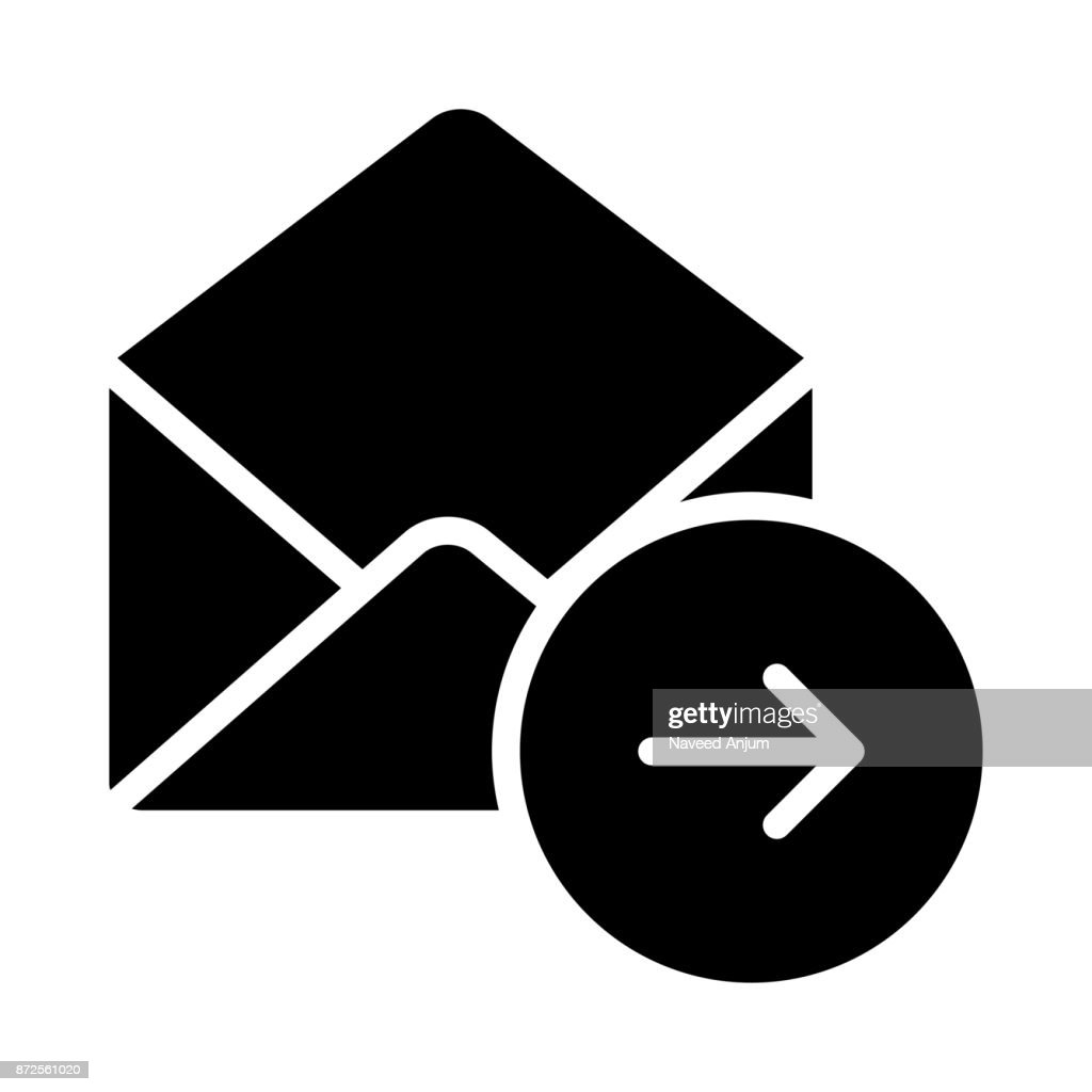 MAIL FORWARD GLYPHS VECTOR ICON