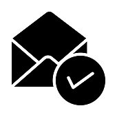 MAIL CHECK GLYPHS VECTOR ICON
