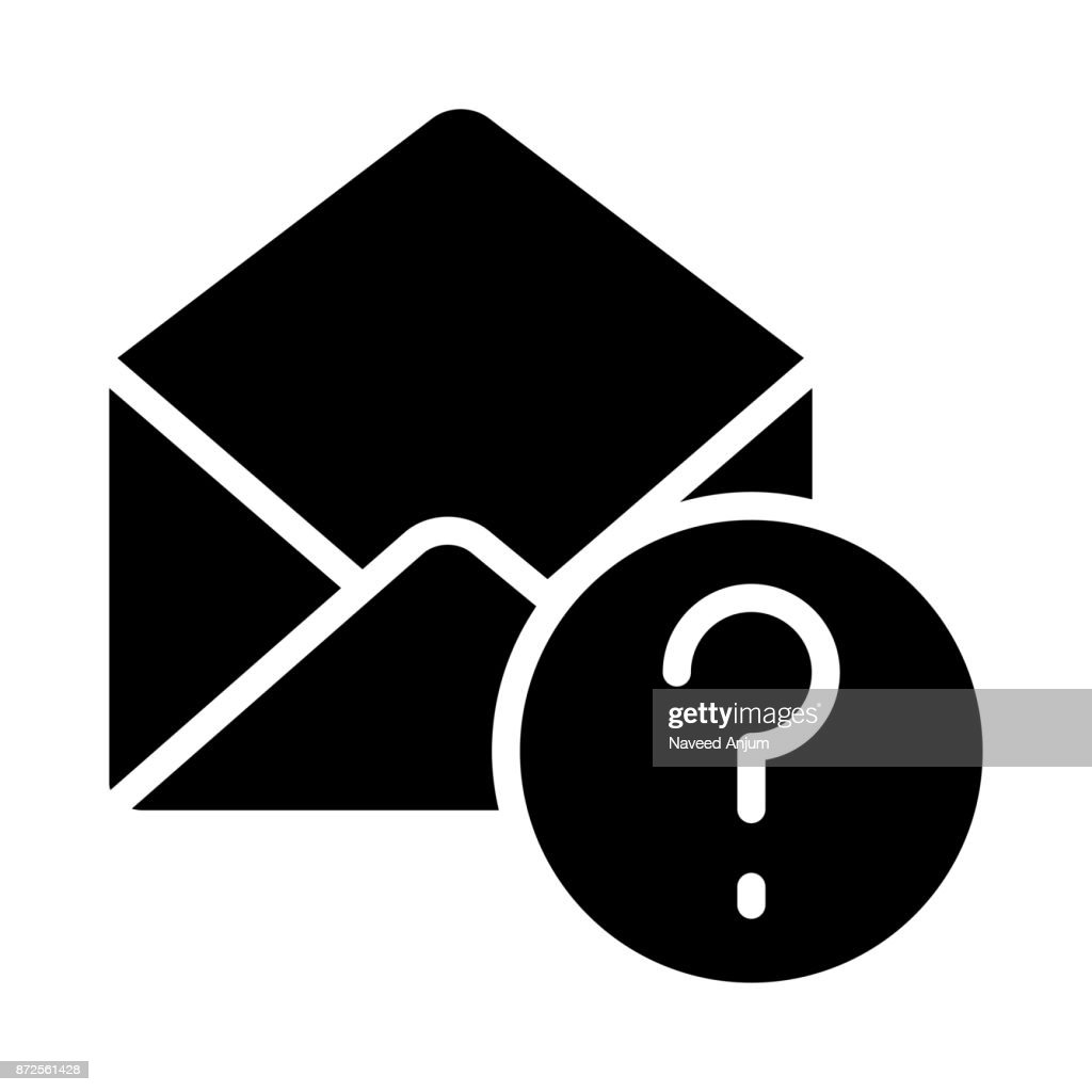 MAIL QUESTION MARK GLYPHS VECTOR ICON