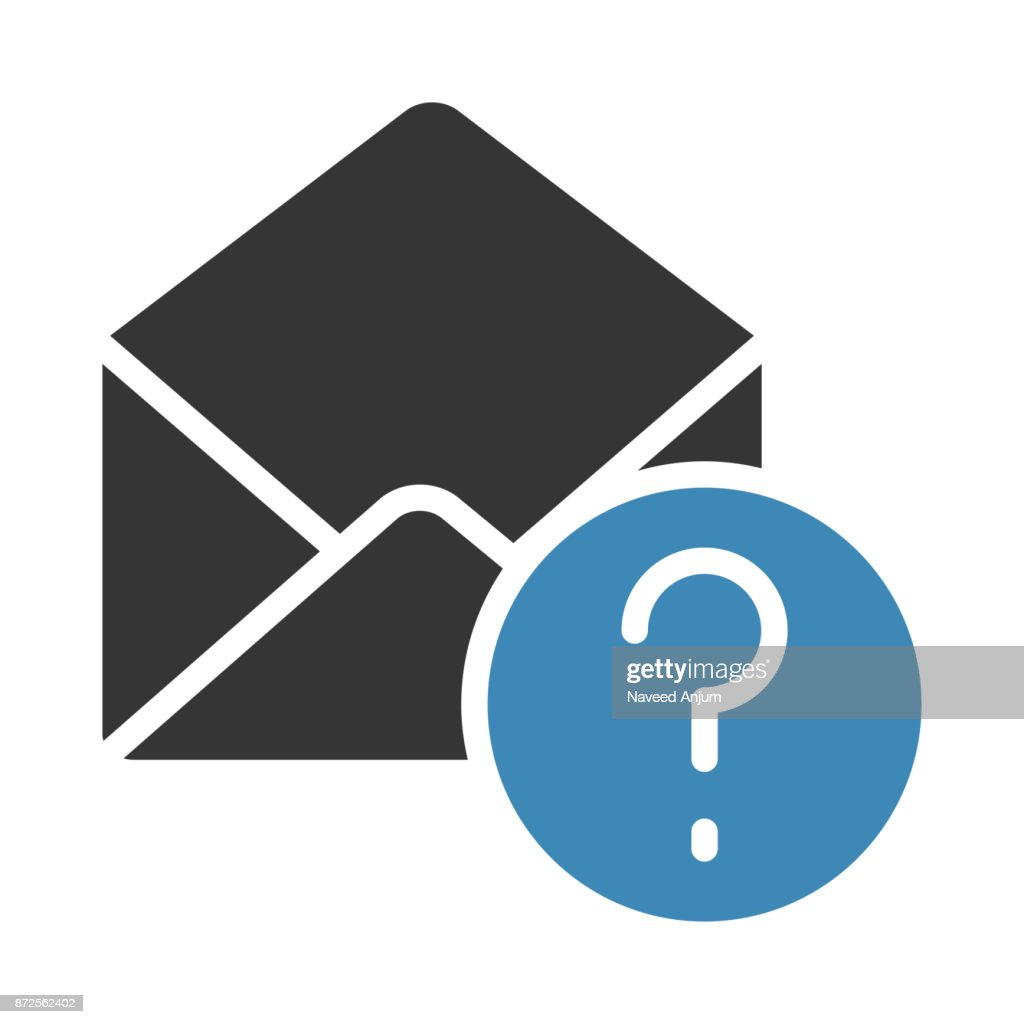 MAIL QUESTION MARK GLYPHS TWO COLOR VECTOR ICON