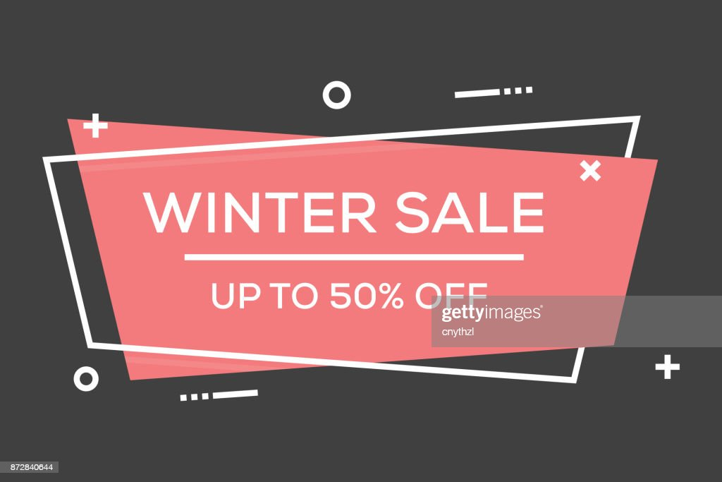 WINTER SALE FLAT LINE BANNER : stock illustration