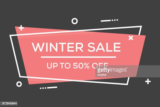 winter sale flat line banner - banner sign stock illustrations